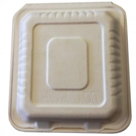 Caja Biodegradable Comida 9x9 con division. 50 U